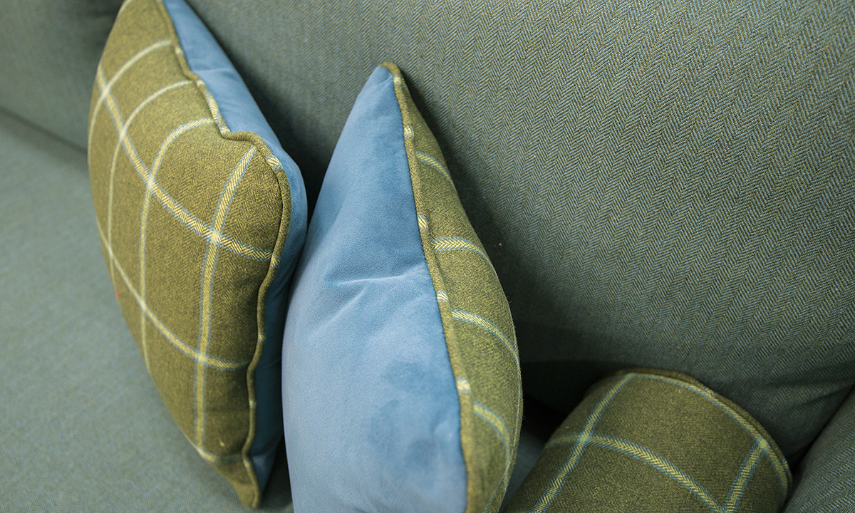 Scatter Cushions in Discontinued Fabric & Luxor Cyan, Silver Collection Fabric