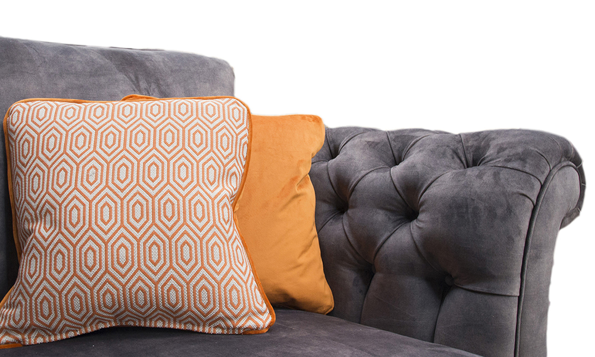 Scatter Cushions in Cristina Marrone GAL 1942 (Platinum) & Luxor Marigold (Silver)