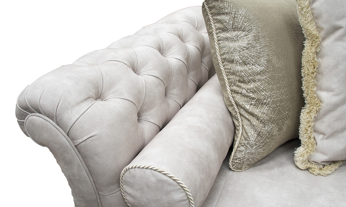 La Scala Sofa Deep Button Arms Detail - Lovely Ivory