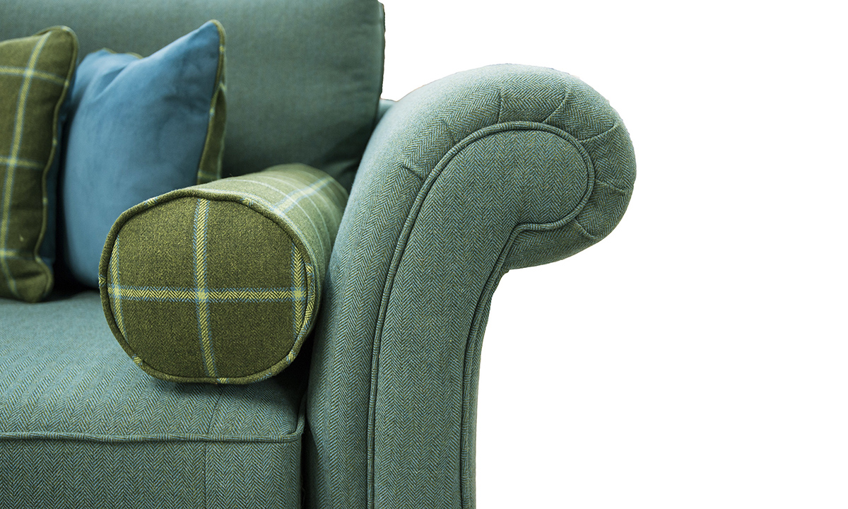 Lafayette Sofa Arm Detail in Foxford Amazon Sea Green, Platinum Collection Fabric