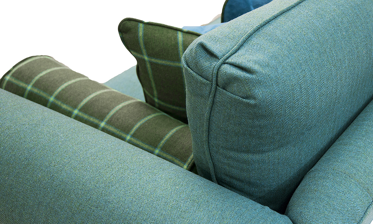 Lafayette Sofa back Detail in Foxford Amazon Sea Green, Platinum Collection Fabric