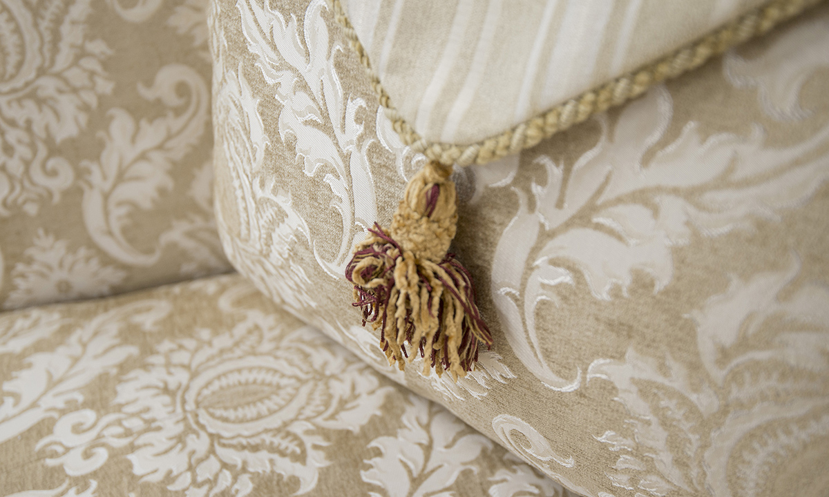 Lafayette Sofa  Detail in Tolstoy Straw Pattern, PLatinum Collection Fabric