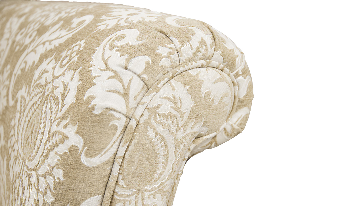 Sofa arm detail in Tolstoy Straw Pattern, Platinum Collection Fabric.