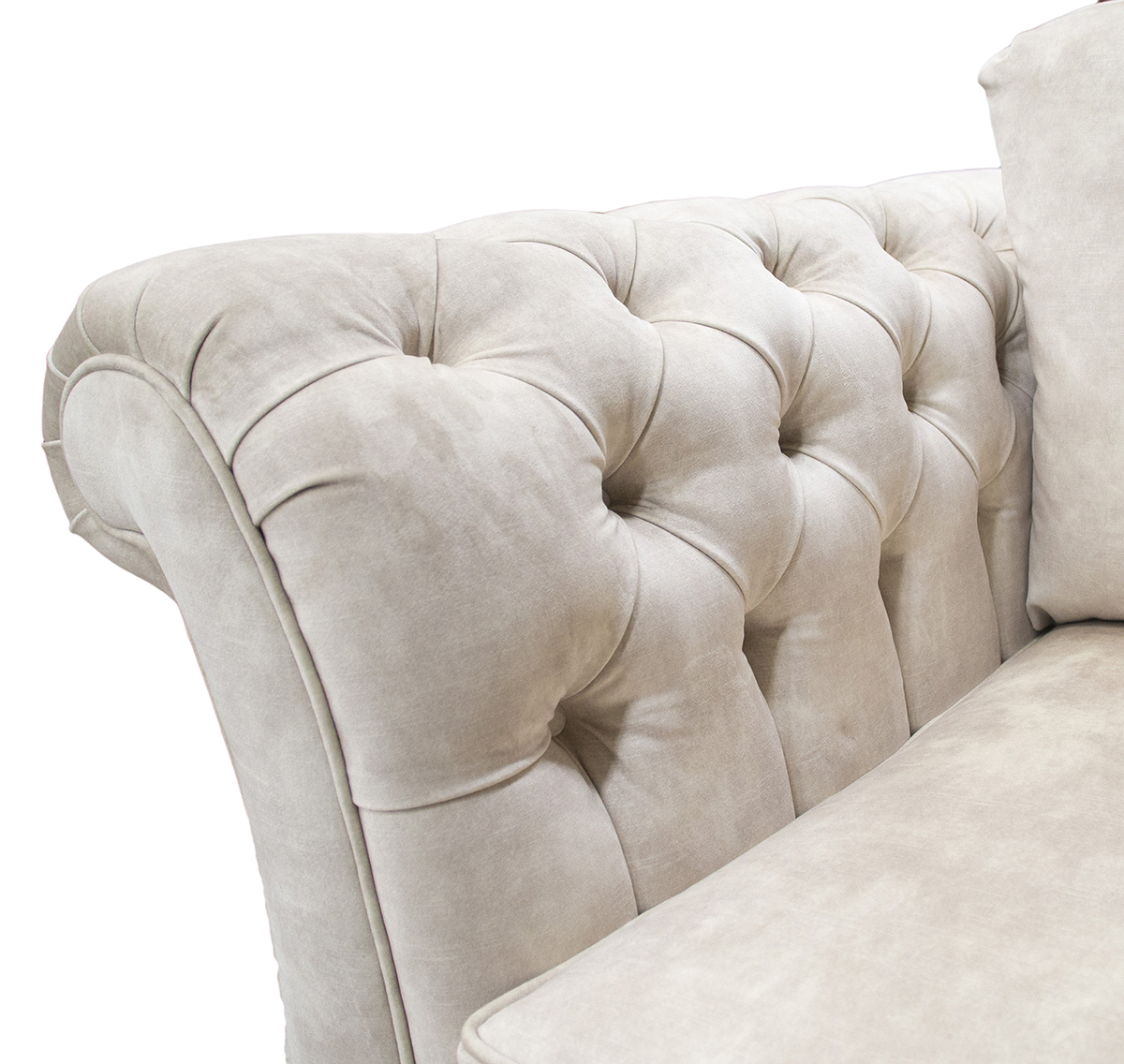 Letrec Small Sofa With Deep Button Arms in Lovely Almond Gold Collection Fabric