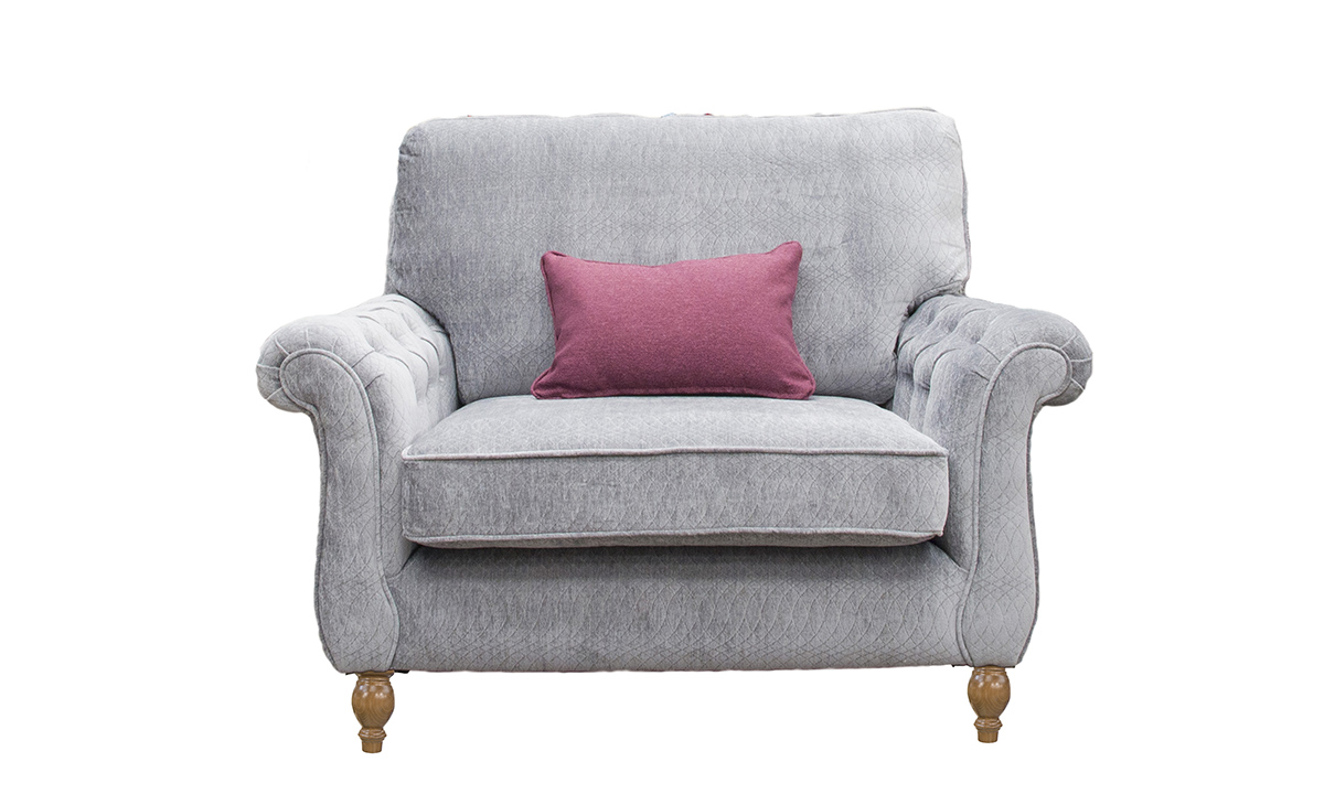 Bespoke Size  Lafayette Love Seat with  Deep Button Arms in a Discontinued Fabric