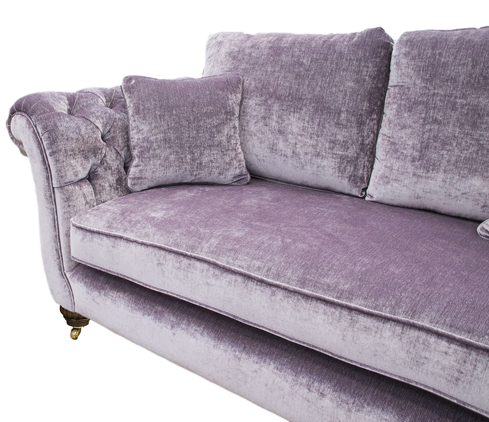 Lafayette Large Sofa with Deep Button Arm Gold Collection Fabric