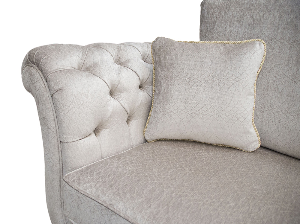 Lafayette Small Sofa with  Deep Button Arms in aPlatinum Collection Fabric