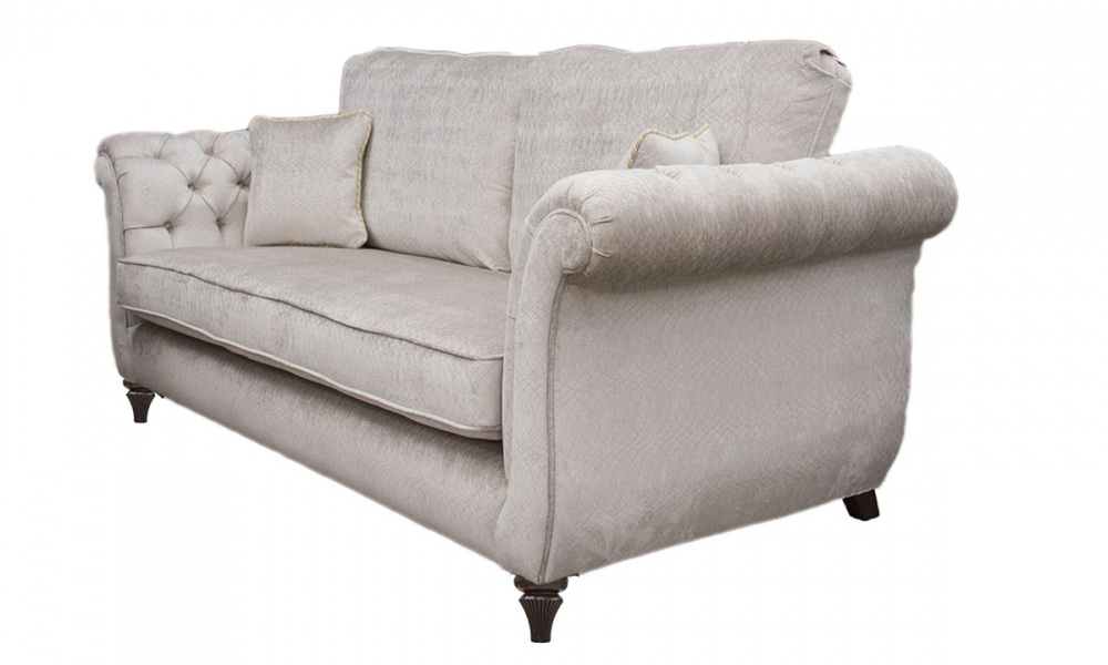 Lafayette  Small Sofa with Deep Buttons in a Platinum Collection Fabric