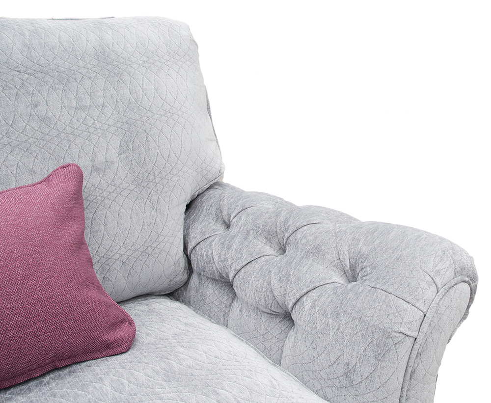 Lafayette Small Sofa with Deep Button Arms in Idylle Bluebell Platinum Collection Fabric