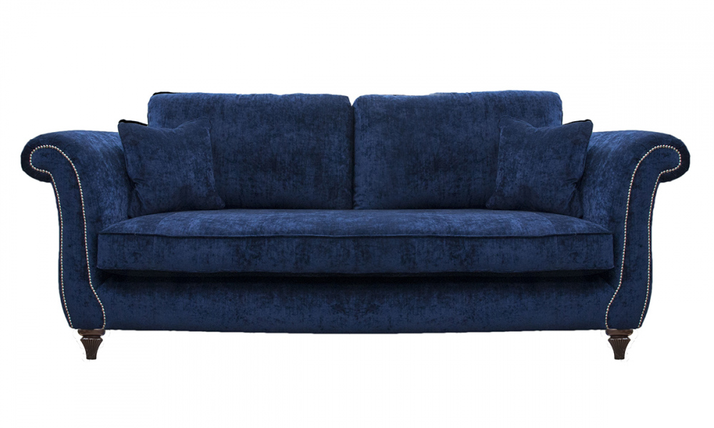Lafayette 3 Seater Sofa with Chrome Studding Arms in Mancini Carbon, Silver Collection Fabric