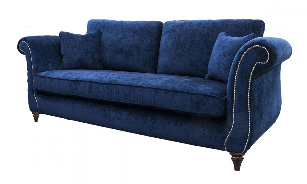 Lafayette Large Sofa with Chrome Studding Arms in Mancini Carbon, Silver Collection Fabric