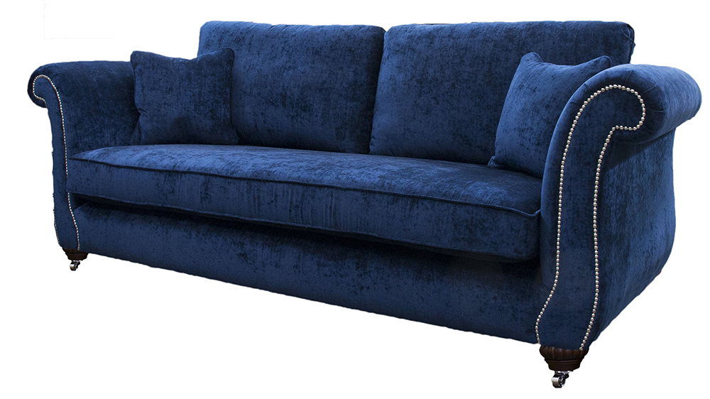 Lafayette Large Sofa with Chrome Studding Arms in Mancini Carbon  Gold Collection Fabric