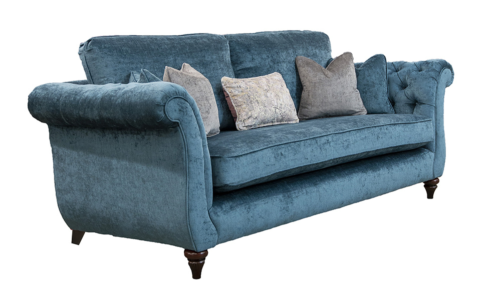 Lafayette 3 Seater Sofa with Deep Buttons Arms  (bespoke option)  in Edinburgh Carbon, Silver Collection Fabric