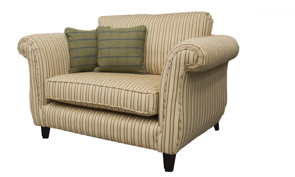 Lafayette Love Seat in Semis Ramis Stripe, Platinum Collection Fabric