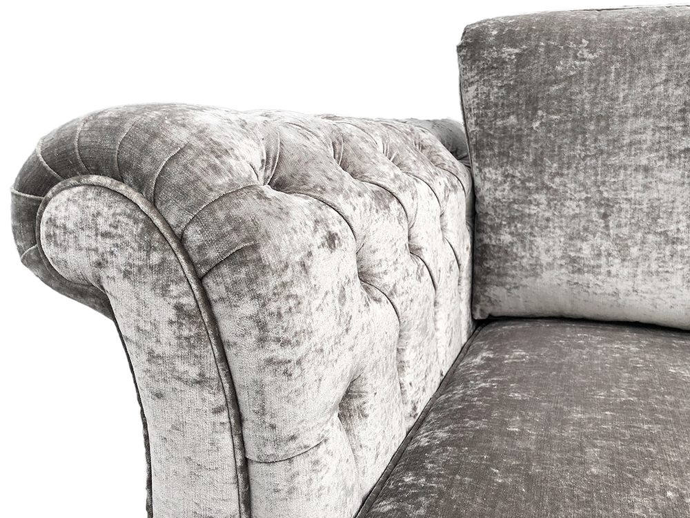 Lafayette Small Sofa with Deep Button Arms in Modena 13923 Shadow Platinum Collection Fabric