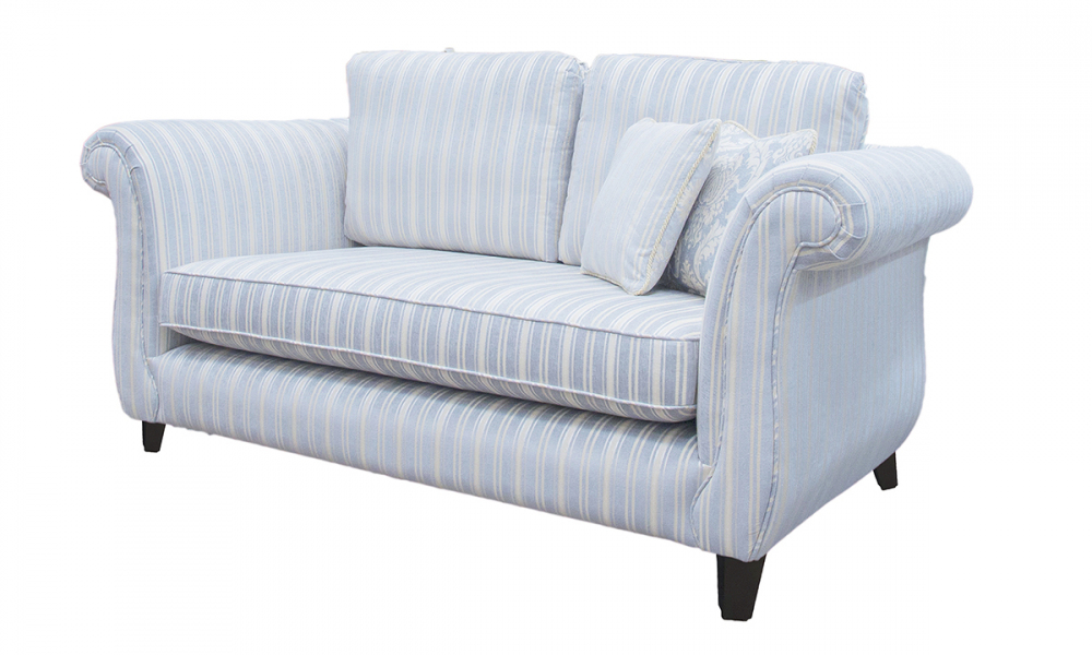 Lafayette Small Sofa in Tolstoy Stripe Ocean, Platinum Collection Fabric
