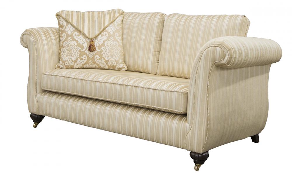 Lafayette Small Sofa Side  in Tolstoy Straw Stripe, PLatinum Collection Fabric