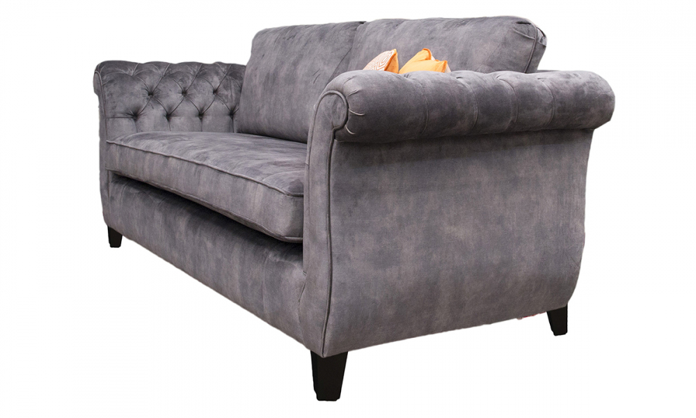 Lafayette Large Sofa with Deep Button Arms in Lovely Asphalt, Gold Collection Fabric