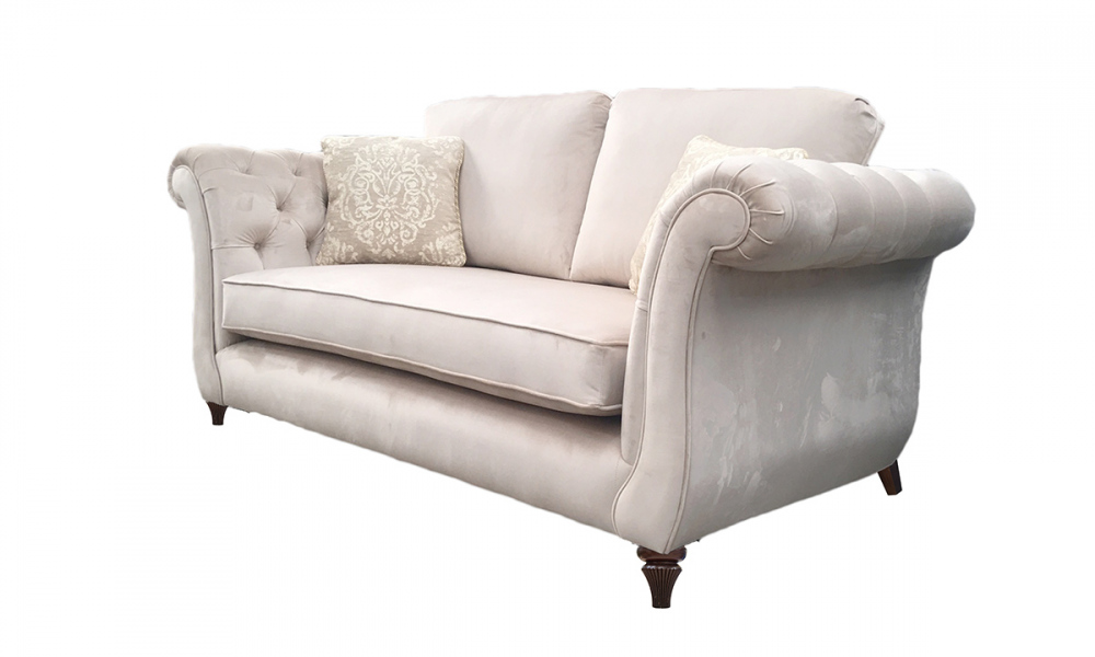 Lafayette Small Sofa with Deep Button Arms in Luxor Blonde, Silver Collection Fabric