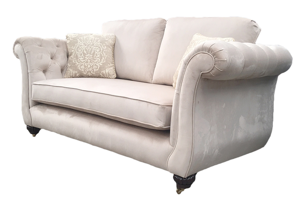 Lafayette Small Sofa with Deep Buttoned Arms in Luxor Blonde Silver Collection Fabric