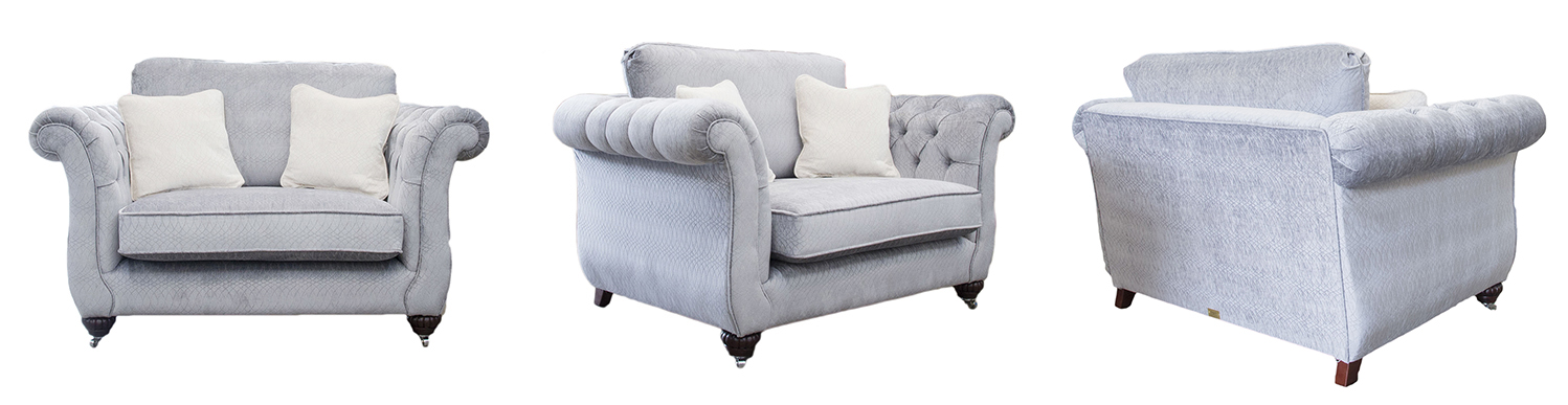 Lafayette Love Seat with Deep Button Arms in Idylle Bluebell Platinum Collection Fabric