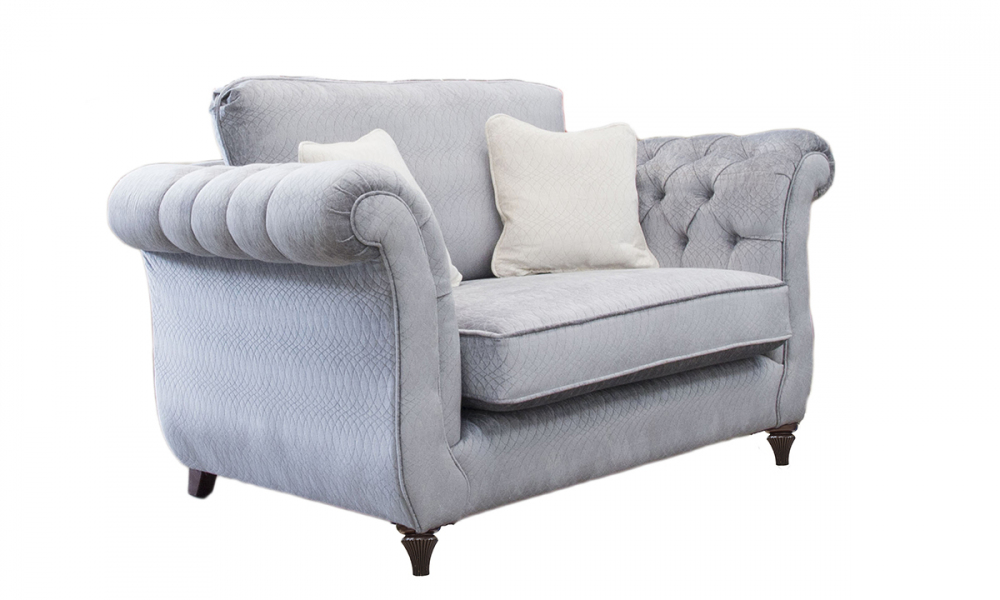 Lafayette Love Seat with  Deep Button Arms in a Discontinued Fabric