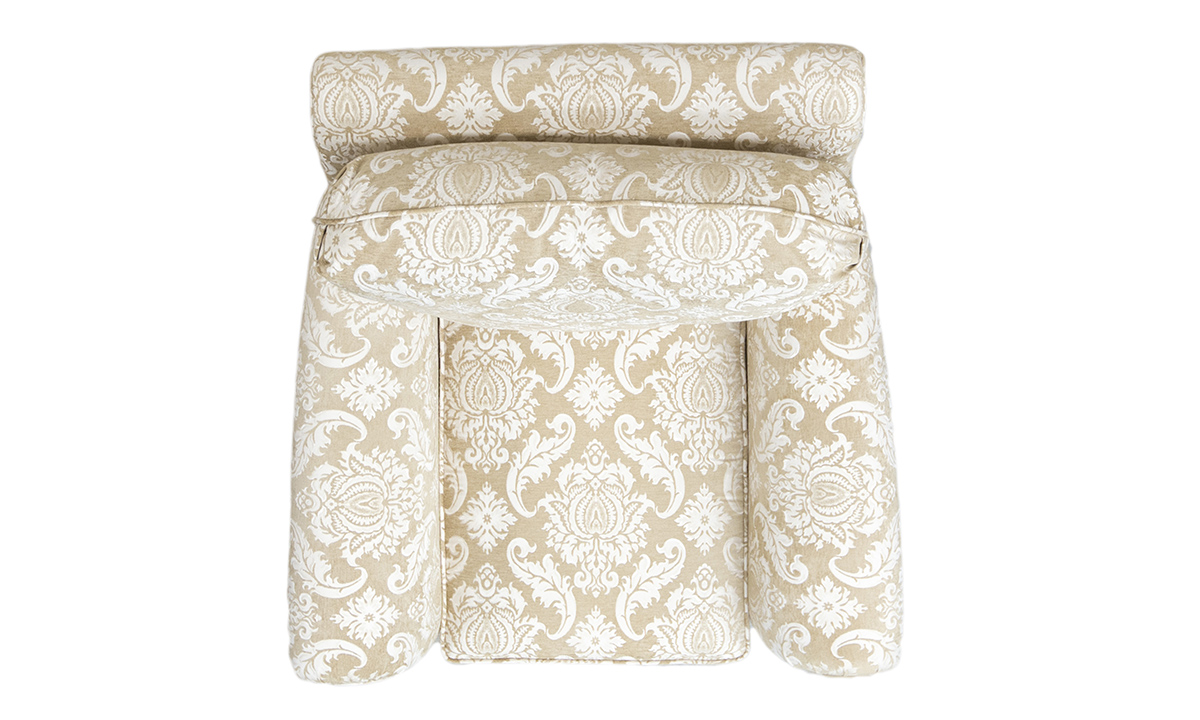 La Scala Chair Top View in Tolstoy Straw Pattern, Platinum Collection Fabric