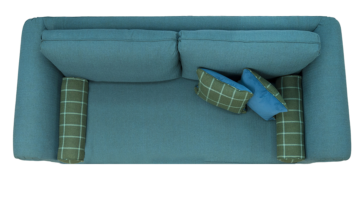 Lafayette Large Sofa Top View in Foxford Amazon Sea Green, Platinum Collection Fabric