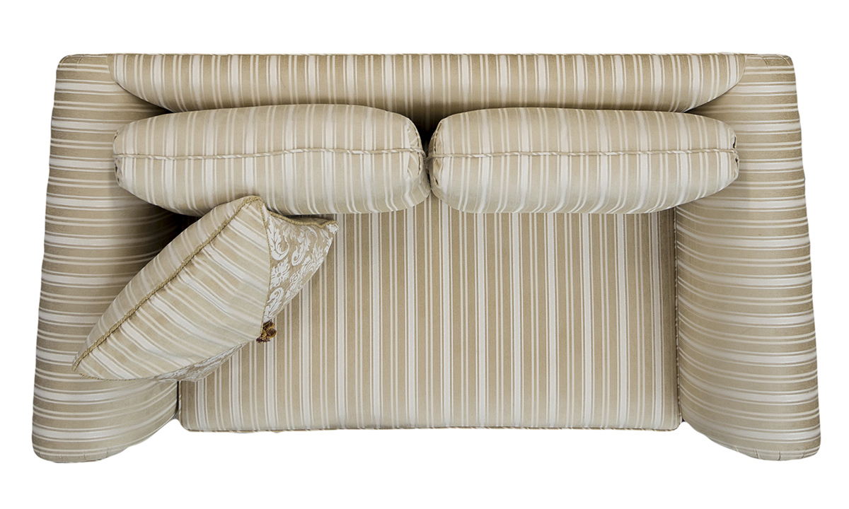 Lafayette Small Sofa Top view in Tolstoy Straw Stripe, Platinum Collection Fabric