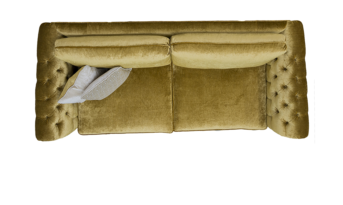 Letrec Large Sofa with Deep Button Arms Top View in Stella Mustard, Platinum Collection Fabric