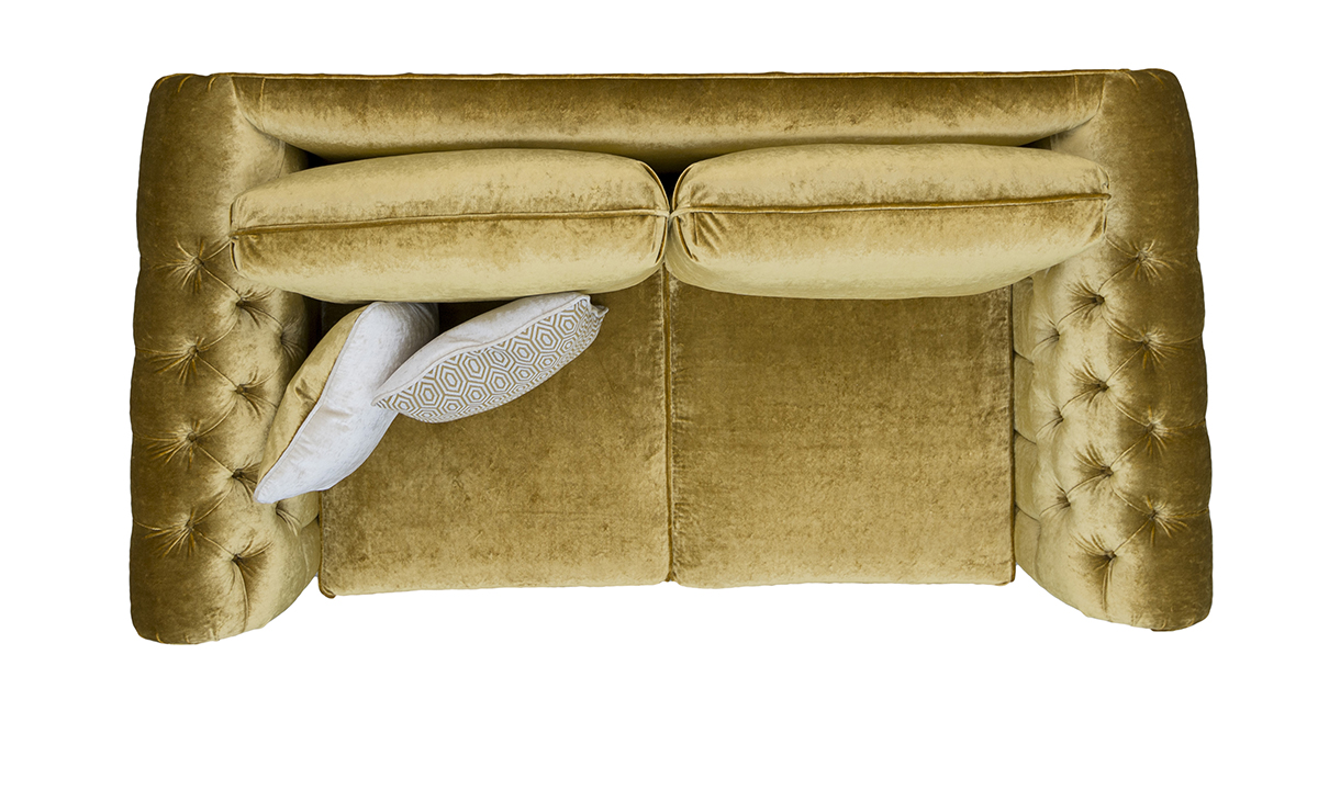 Letrec Small Sofa with Deep Button Arms Top View in Stella Mustard, Platinum Collection Fabric