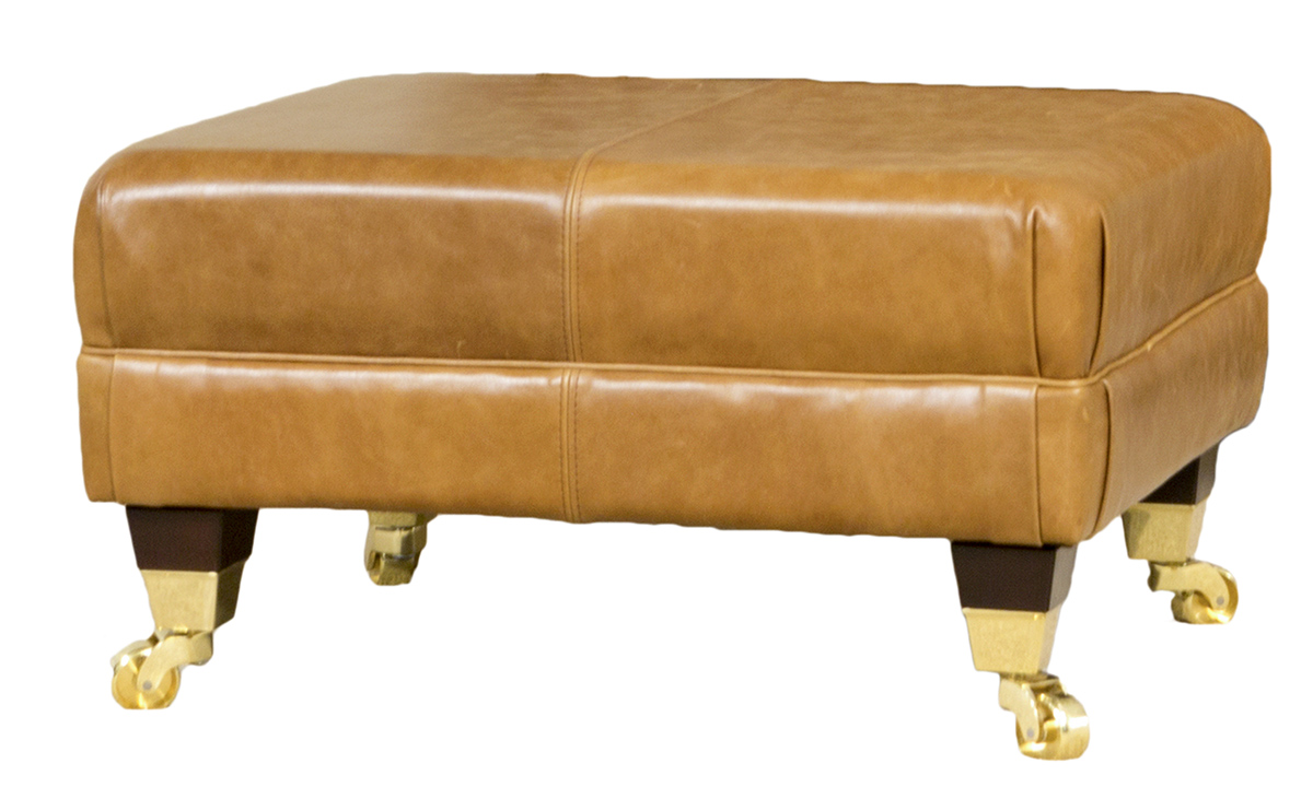 Leather Ottoman in Mustang Tan