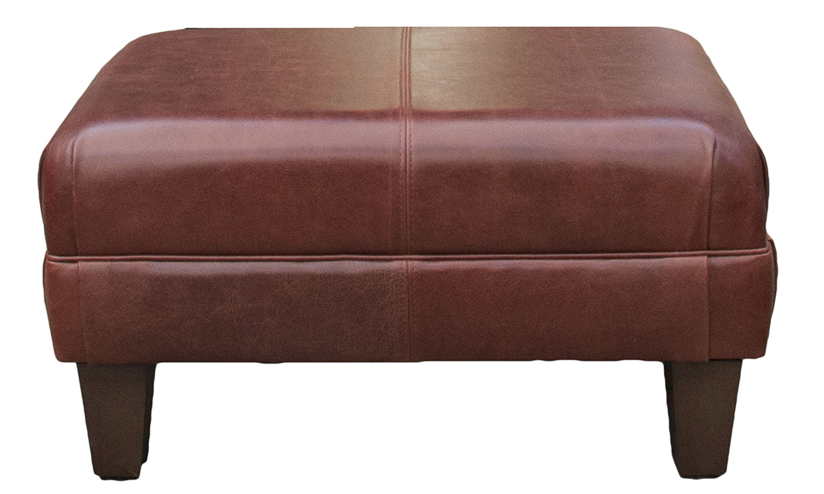 Leather Costa Footstool in Mustang Chestnut