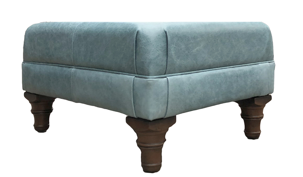 Leather Costa Footstool Side - Mustang Lagoon