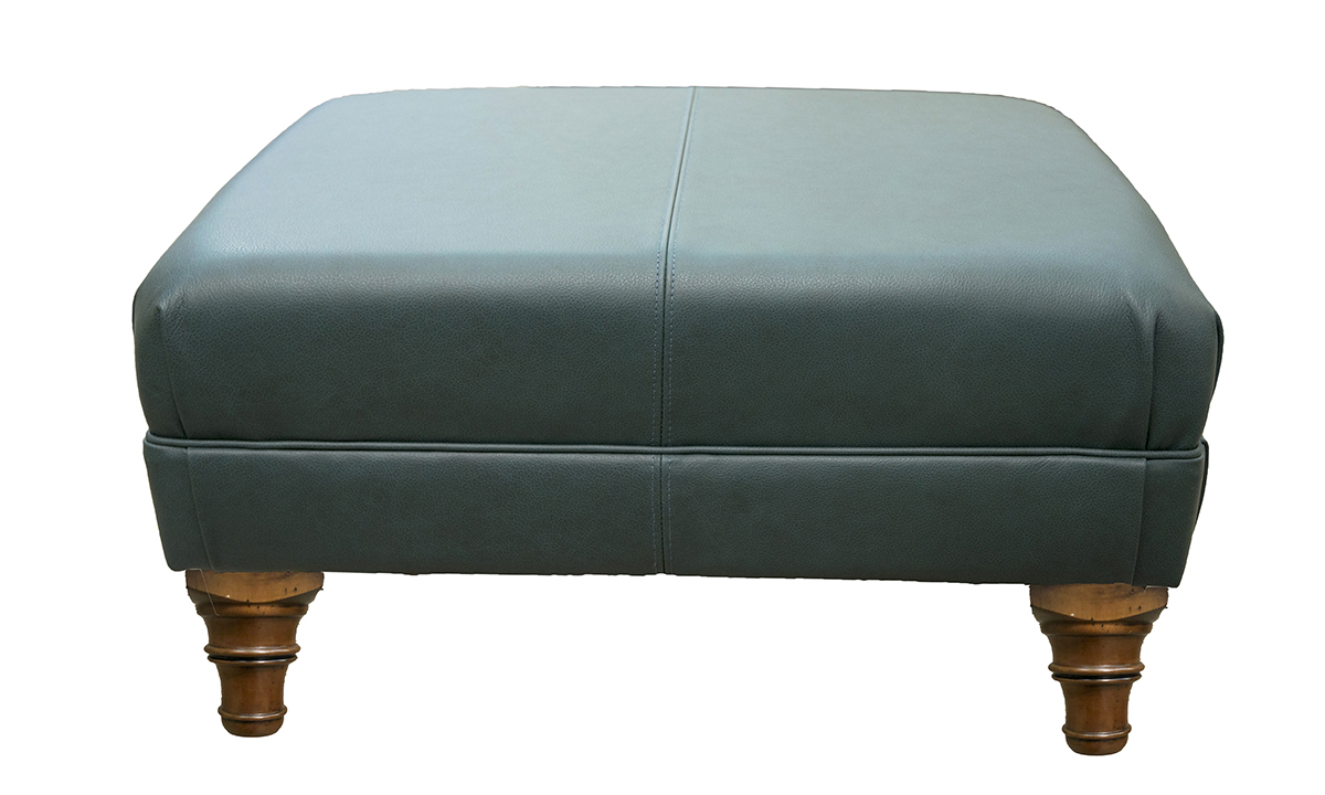 Leather Costa Footstool in Chelsea Emerald Green