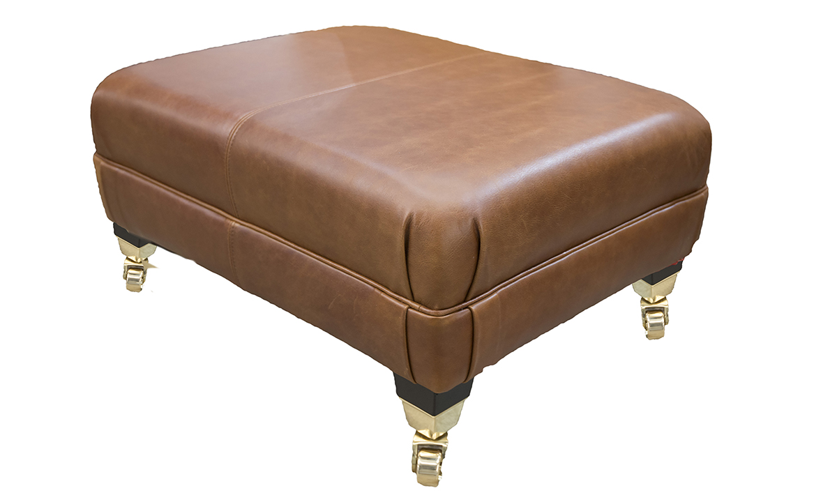 Leather Costa Footstool in Mustang Rust