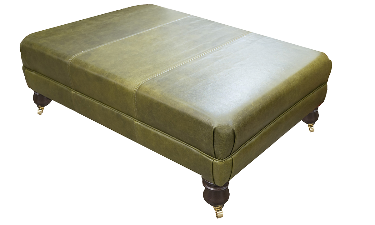 Leather Ottoman Footstool in Mustang Olive