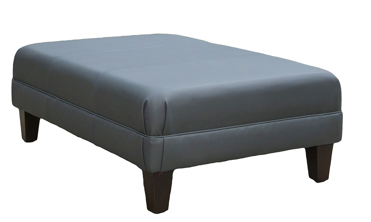 Leather Ottoman Side in Chelsea Emerald Green