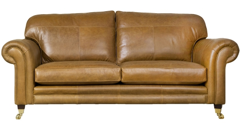 Leather Louis 3 seater - Mustang Tan