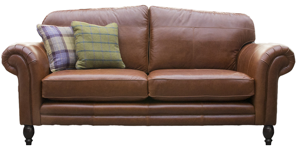 Leather Louis Large Sofa - Mustang Rust