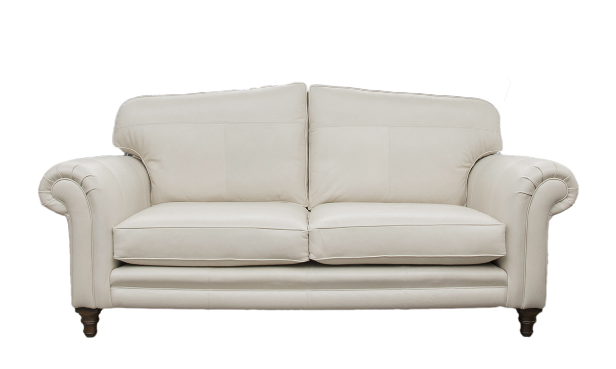 Large Leather Louis Sofa in Mustang White