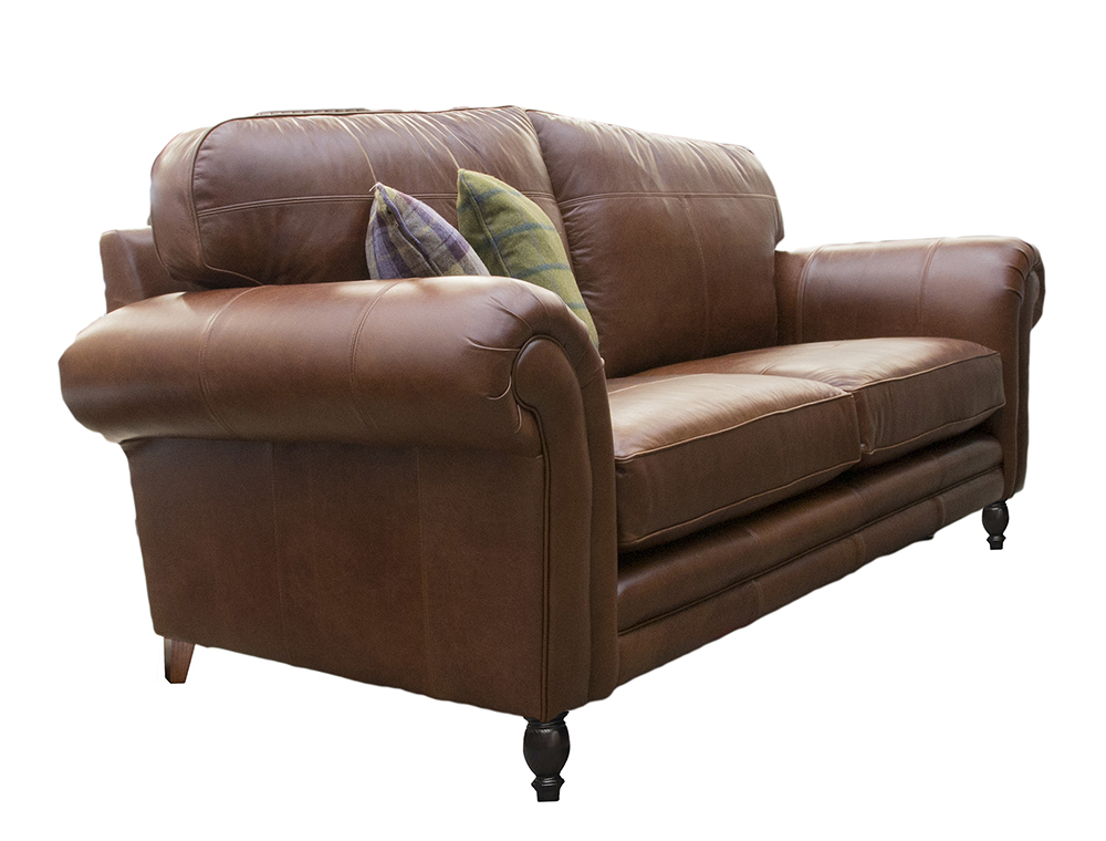 Leather Louis Large Sofa Side - Mustang Rust