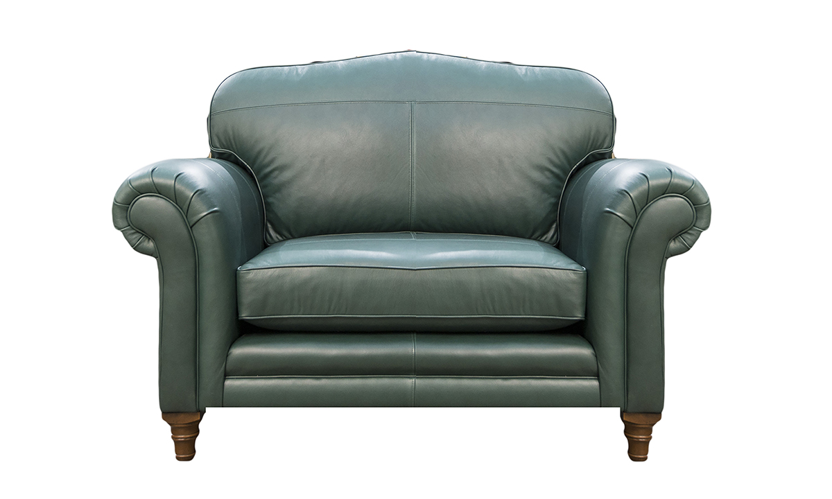 Leather Louis Love Seat in Chelsea Emerald Green