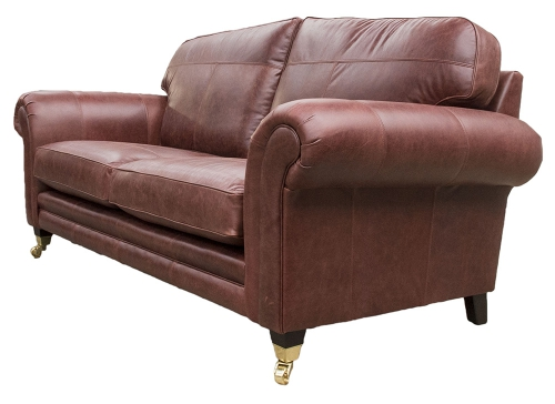 Leather Louis Small Sofa - Mustang Ox Blood