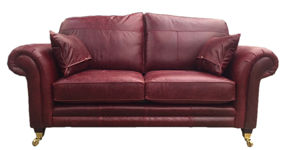 Leather Louis Small Sofa with bolsters - Mustang Oxblood