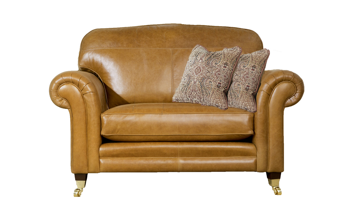 Louis Leather Love Seat in Mustang Tan