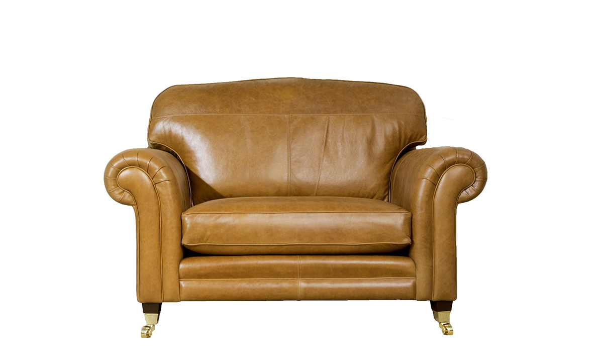 Leather Louis Love Seat in Mustang Tan