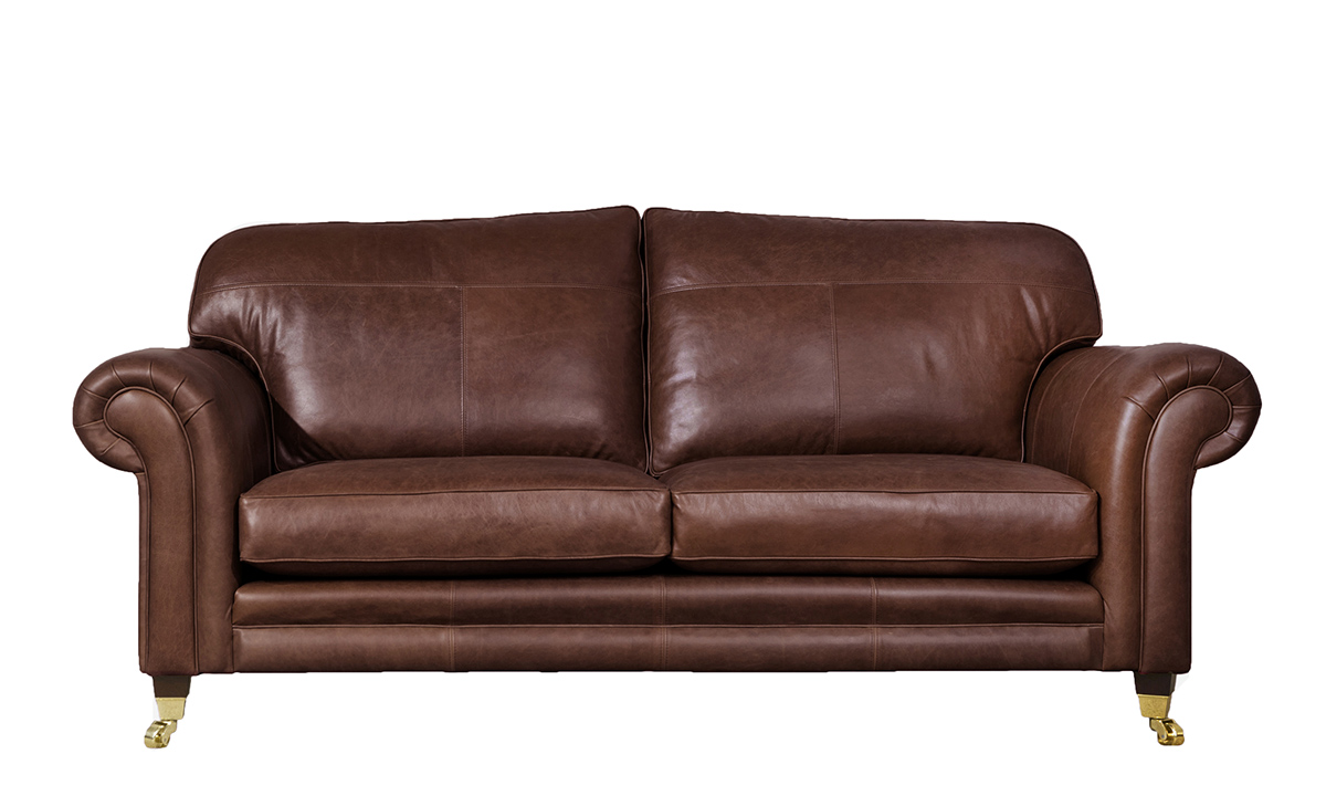 Large Leather Louis Sofa in Mustang Chestnut
