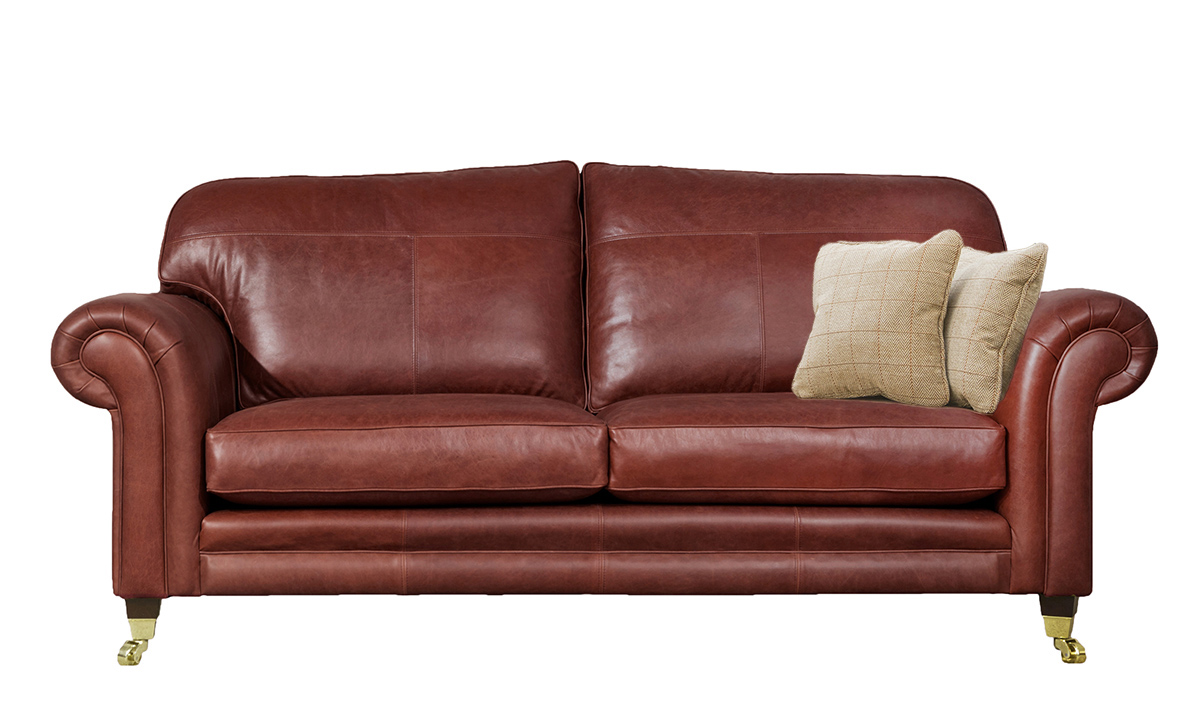 3 Seater  Louis Sofa Leather Mustang Claret