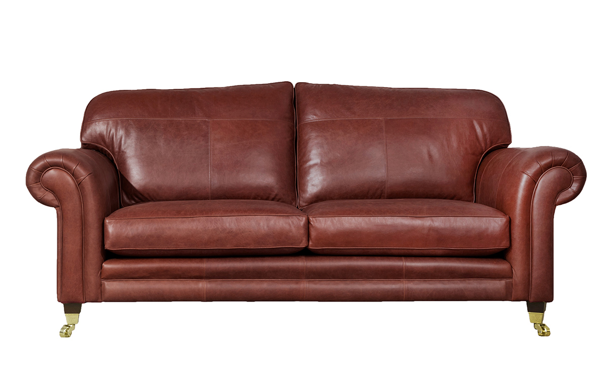 Large Leather Louis Sofa in  Mustang Claret
